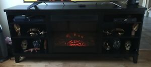 Black Wood Entertainment Stand with Electric Fireplace