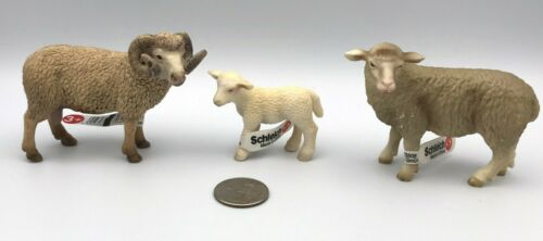 SCHLEICH SHEEP FAMILY Ewe, Ram & Lamb Baby Farm Animal Figures Retired