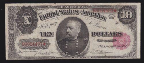 US 1891 $10 Treasury Note Plain Back FR 370 F-VF (497)