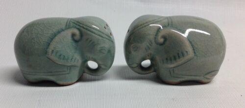 Celadon Ceramic Thailand Green Glaze Elephant Salt & Pepper Shakers