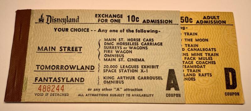 Vintage Walt Disney Rare 1956 Disneyland Ride Ticket Book with 2 tickets A & D