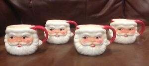 2 Sets of Christmas Santa Mugs Made in Japan & England