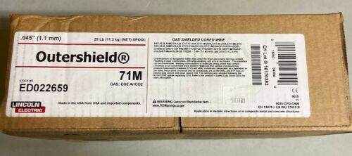 """LINCOLN ELECTRIC OUTERSHIELD ED022659 GAS SHIELDED WIRE .045"""" 71M 25LBS ROLL"""