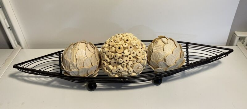 wire basket bowl with orb filler decor