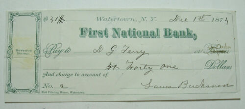 1874 First National Bank, Watertown, N.Y. Check