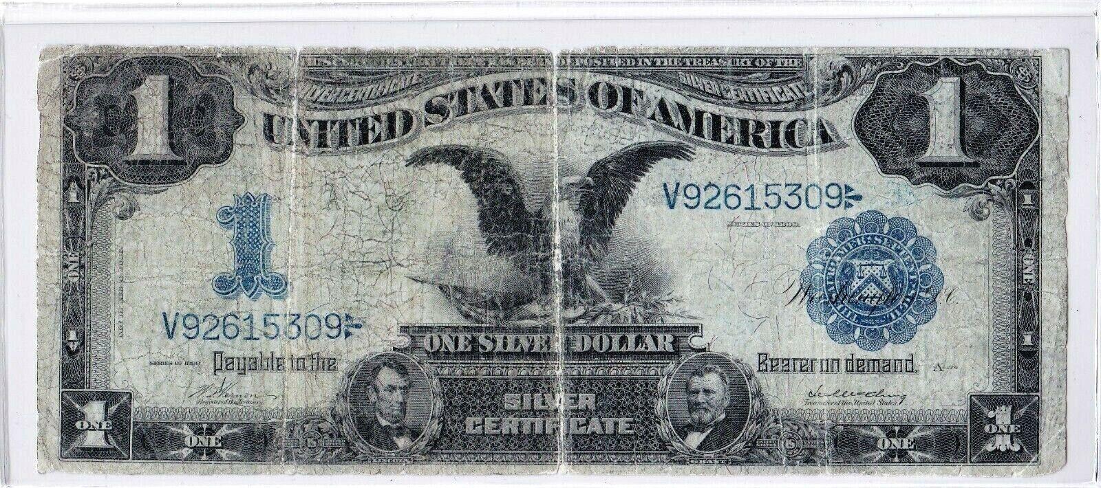 1899 $1 BLACK EAGLE Silver Certificate Large Blue Seal FR-239 Vernon / McClung
