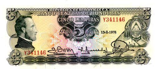 Honduras ... P-59b ... 5 Lempiras ... 1978 ... *UNC*