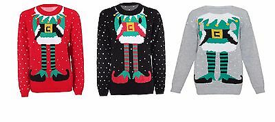 Womens Ladies Mens Elf Body Ugly Christmas Sweater Xmas Holiday Party S - XL](Ugly Elf Sweater)