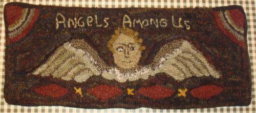 ANGELS AMONG US ~  PRIMITIVE GRAVESTONE DESIGN ~ LINEN RUG PATTERN