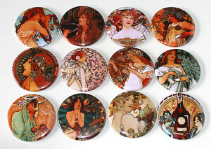 ALPHONSE MUCHA ART NOUVEAU Set of 12 Large FRIDGE MAGNETS