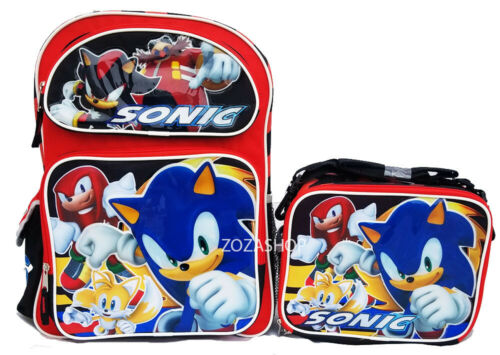 "Sonic 16"" Large Backpack and Lunch set 2 pc Licensed NWT"