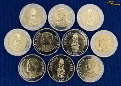 2018 THAILAND 10 BAHT Y#NEW BIMETALLIC NEW KING RAMA X LOT 10 COIN UNC WHOLESALE