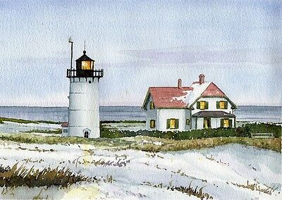 Race Point Lighthouse Provincetown Cape Cod Massachusetts Watercolor Art Prints