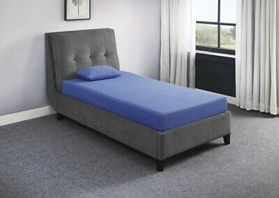 Homelegance 7'' Twin Size Gel-Infused Memory Foam Blue Mattress With Pillow