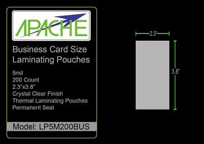 Apache Laminating Pouches 5 Mil 5mil 5mil Business Card 200 Pack