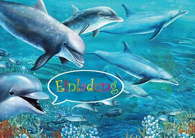 Delfin-Einladungskarten zum Kindergeburtstag / Pool-Party / Schwimmbad, 4-25 St.