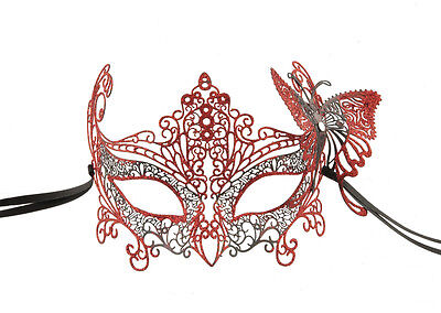 Mask Lace Metal from Venice Butterfly Red Shiny Fancy 723
