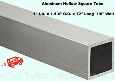 Aluminum Hollow Square Tube 1 I.d. X 1-14 O.d. X 72 Long 18 Wall