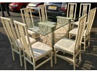 RARE FOSSILSTONE GLASS DINING TABLE SET WITH X 8 MATCHING CHAIRS - £245 ONO