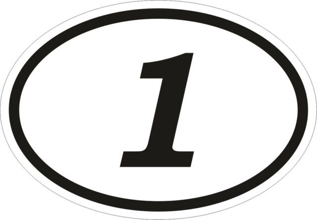 1 one un number oval sticker bumper decal car motocross motorcycle aufkleber