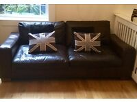 Real Leather sofa brown good condition
