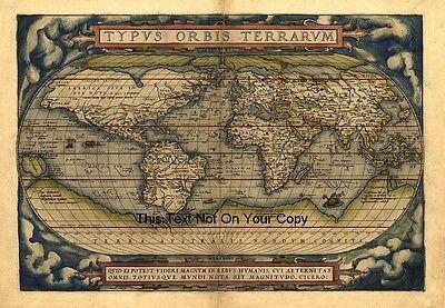 Ortelius Vintage Alt Antik Farbe Farbe 1570 Weltkarte Plan Poster Neu Bild