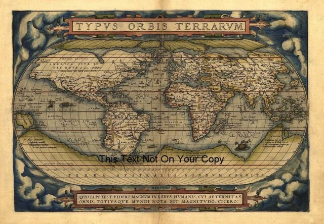 Ortelius vintage old antique colour color 1570 world map plan ortelius vintage old antique colour color 1570 world map plan poster new picture sciox Choice Image