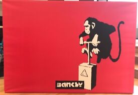 Banksy Print: 142cm x 100 cm x 4.5 cm (depth) in v good condition: Collect from W4