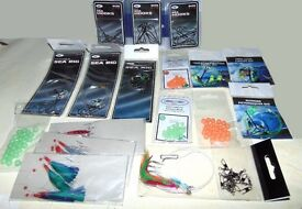 sea fishing tackle hooks, rigs, beads, clips, cod, mackerel feathers, bait box