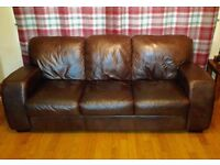 Leather sofa, 2 leather chairs, and a leather foot stool (very good condition)