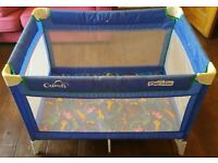 Travel cot and play pen for Sale (Cumfi Play n Go, blue with animal patterned mattress)