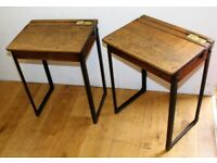 Pair of child school desk chair antique wooden bedside table vintage children industrial bedroom