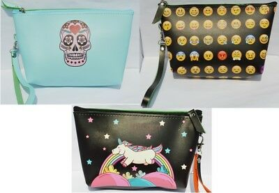 Sugarskull Make Up (Unicorn Emoji SugarSkull Makeup Toiletry Travel Pencil Case Zip Up Bag Pouch)