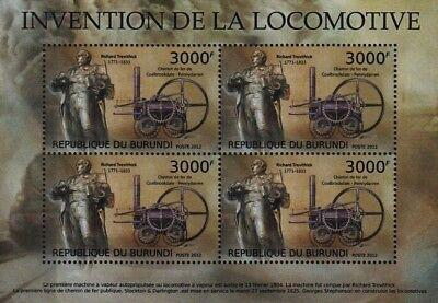 RICHARD TREVITHICK & PENYDARREN Steam Locomotive Train Stamp Sheet/2012 Burundi