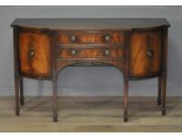 Attractive Vintage Flame Mahogany Regency Style Bow Front Sideboard Side Cabinet