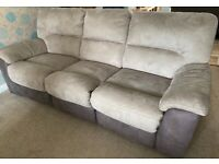 3 and 2 seater suede Sofa + Footstool Used ~ Beige/Brown