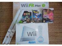 Nintendo Wii Sports Resort, Wii fit plus, lightsabres, Lego Starwars, Rabbids and Zumba