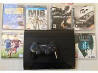 SONY PLAYSTATION SUPERSLIM 500 GB PS3 CONSOLE 1 PAD 6 GAMES BORDERLANDS FIFA TERMINATOR GT5 M.I.B