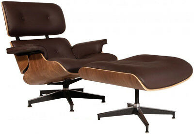 - Eames Style Lounge Chair & Ottoman Reproduction Aniline Leather Brown Walnut