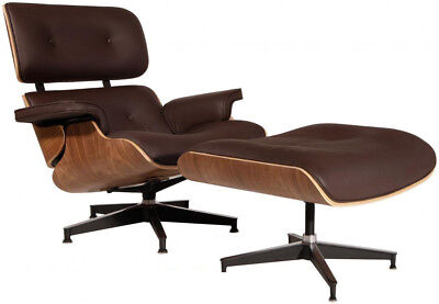Eames Style Lounge Chair & Ottoman Reproduction Aniline Leather Brown Walnut for sale  Flushing