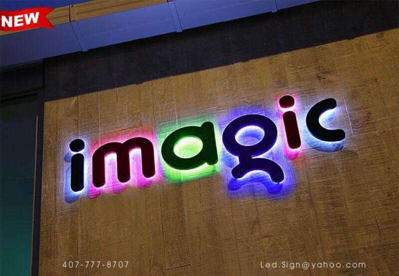 """Led BackLit RGB color changing Letter sign 12"""" - Custom made"""