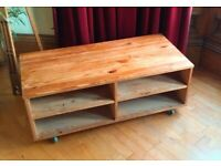Pine tv stand on wheels