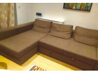 Corner Sofa-Bed Brown colour with Storage - IKEA Farihiten. good condition Stain-free