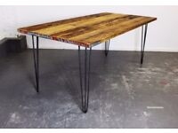 Industrial Reclaimed Timber Scaffold Board Table. On Vintage, Retro Hairpin Legs