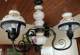 PORCELAIN ITALIAN HANDPAINTED CHANDELIER IN MINT CONDITION