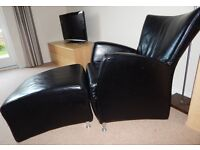 Beautiful Black Leather Armchair and Stool - Excellent Condition