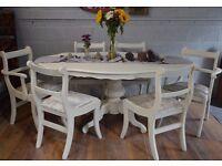 Shabby Chic Italian Dining Table & 6 Wooden Chairs Cream Velvet