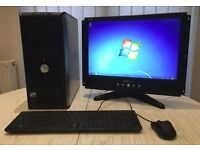 Complete Windows 7 Dell Core 2 PC Tower with Flatscreen Monitor Keyboard & Mouse