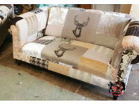 Stag Animal Print 2 Seat Patchwork Chesterfield Sofa | Brand New | UK Made