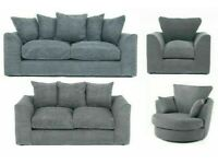 😍BRAND NEW JUMBO CORD 2+3 SEATER CORNER SOFASET WITH SWIVEL CHAIR IN GREY😍